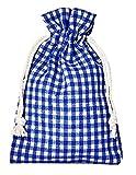 10 bolsitas de algodón, bolsas de algodón estilo rústico, tamaño 30 x 20 cm, elemento decorativo, decoración romántica, a cuadros, azul-blanco