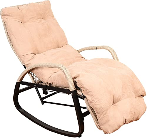 Sundale Outdoor Indoor Wicker Rattan Rocking Chair with Cushion Zero Gravity Lounge Chair Vintage Recliners with Pneumatic Adjustment for Patio, Pool, Deck, Home, Weight Capacity 330 LBS, Beige