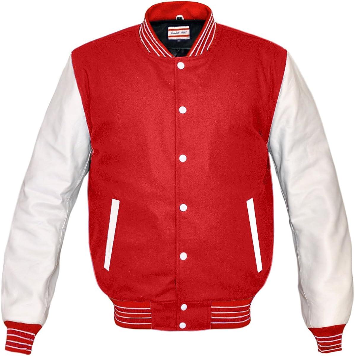 Superb Genuine White lowest price Leather Sleeve Varsity Letterman Houston Mall Me College