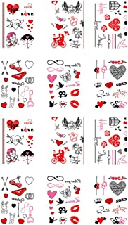 Lurrose Valentines Temporary Tattoo Stickers, 12 Sheet Love Heart Lip Couples Valentines Day Face Body Art Tattoos Decals ...