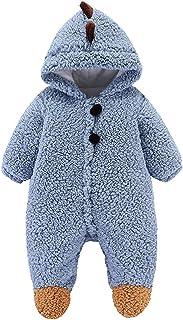 الوليد الطفل جير بوي الملابس رومبير الرضع الشتاء الدافئ أطفال بذلة الزواحف (Color : Blue, Size : 12M-NO80)