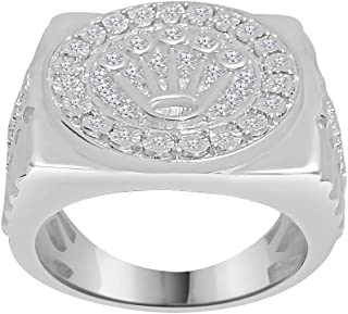 0.28 CT Round Cut Diamond Crown Mens Ring 925 Sterling Silver In 14K White Gold Finish