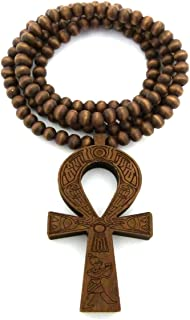 """Fashion 21 Egyptian Ankh Cross Pendant 6mm 27"""" Stretchable Wooden Bead Necklace (3 Colors Available)"""