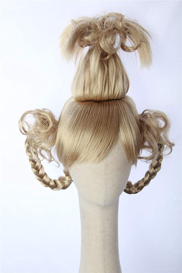 Cosplaywigscom: Cindy Lou Who Wig Inspired of How the Grinch Stole Christmas! Braided Pigtails Prestyled Spiky Wig for Girls and Teens (Plantinum Blonde)