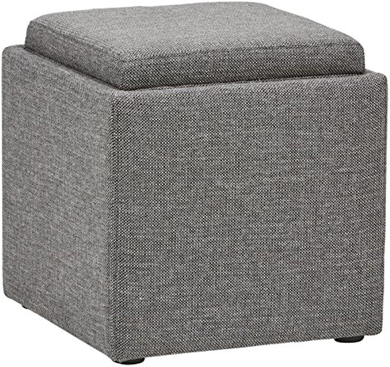 Rivet Ross Moderner Sitzhocker aus Tweed mit Stauraum und abnehmbarem Deckel, B 48cm, Grauer Sturm