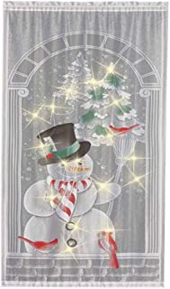 Studyset 40x84 Inch Christmas Curtain Lace Snowman Vertical Blackout Curtains LED String Light Christmas Decoration(Excluding Battery) Color Pattern (Including 17LED String Lights) 101x213cm
