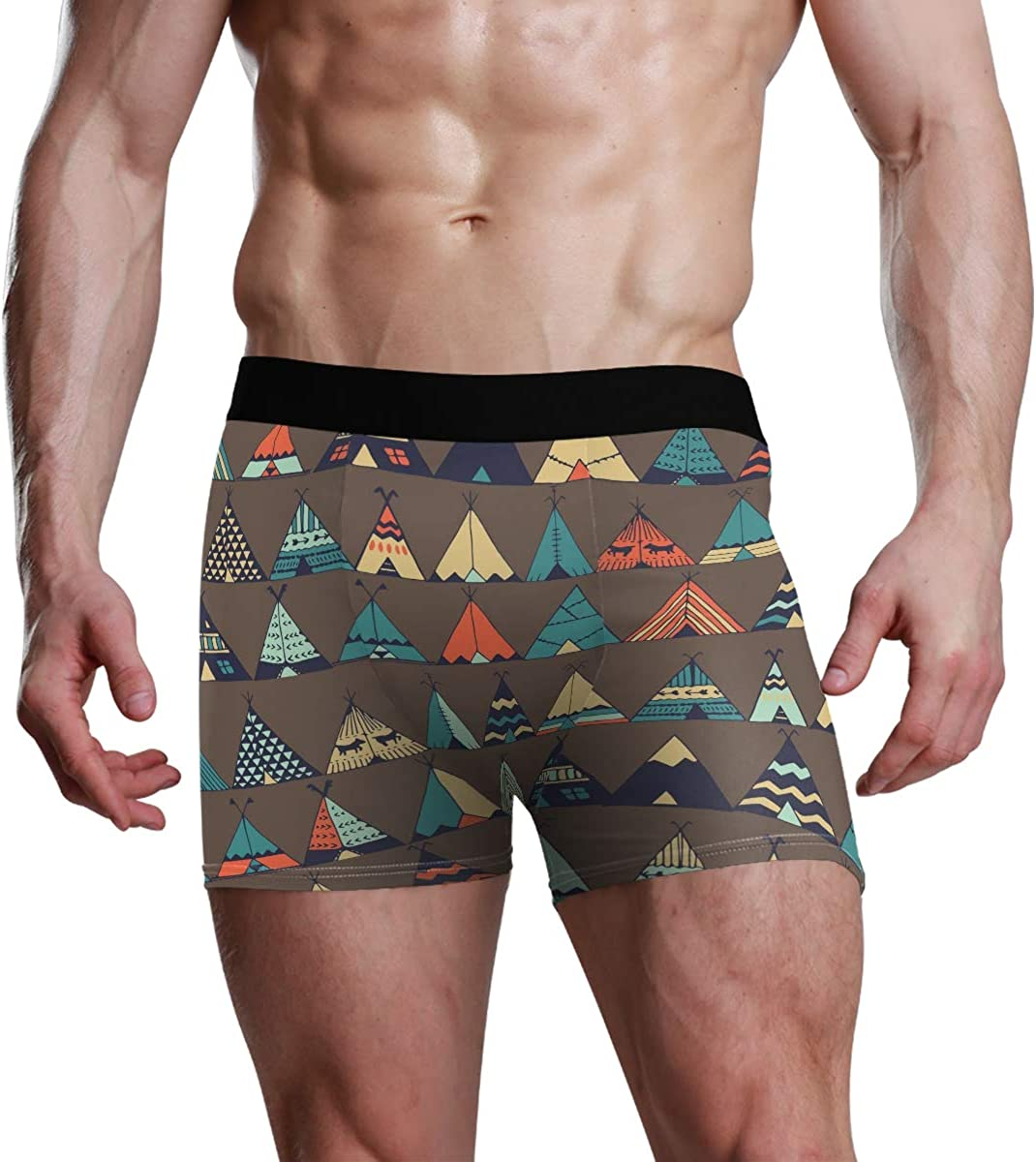 Men's Boxer Briefs Teepee Native American Summer Tent Illustration in Vector Bikini Underwear Stretch Trunks Boys Underpants