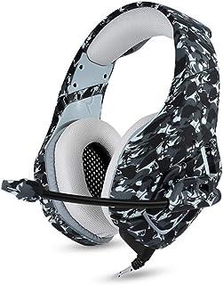 DZSF Camouflage Headset Bass Gaming hörlurar spelhörlurar Casque med mikrofon för PC mobiltelefon Xbox One surfplatta, C