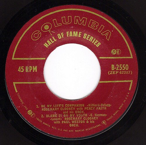 Be My Life's Companion/Blame It On My Youth/Blues In The Night/Why Fight The Feeling (VG+ EP 45 w/PS)
