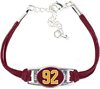 Number Charm Bracelet (00-99) Jersey Style in Team Colors (Maroon & Gold)