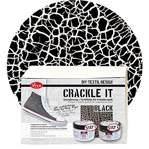 Viva Decor Crackle it Set (Schwarz) - Waschfeste Krakelier Stoffmalfarbe für Reißlack Effekte auf Textil
