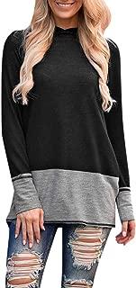 QueenMM🍂Women's Pullover Long Sleeve Hoodies Coat Patchwork Loose Casual Sweatshirts