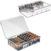 mDesign Rangement Piles pour AA, AAA et Autres Piles (Lot de 2) – boîte de Rangement empilable pour Batteries et chargeurs...