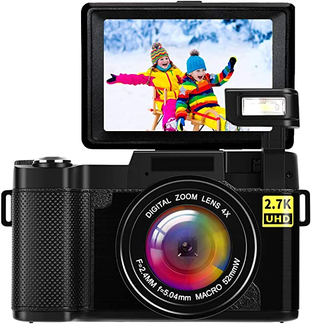 Camara de Fotos Camara Fotos Full HD 2.7K 24MP Videocámaras Camara de Fotos Digital Camara Fotos Compacta con Luz de Flash Retráctil
