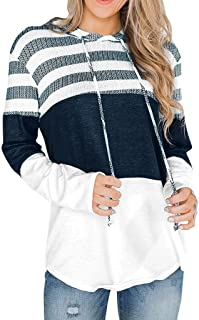 Women's Fashion Pullover Long Sleeve Striped Color Block Drawstring Hoodie Sweatshirt Top Blouse