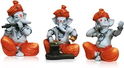 Karigaari India Polyresine Ganesha Playing different Instruments (Multicolour) - Set of 3