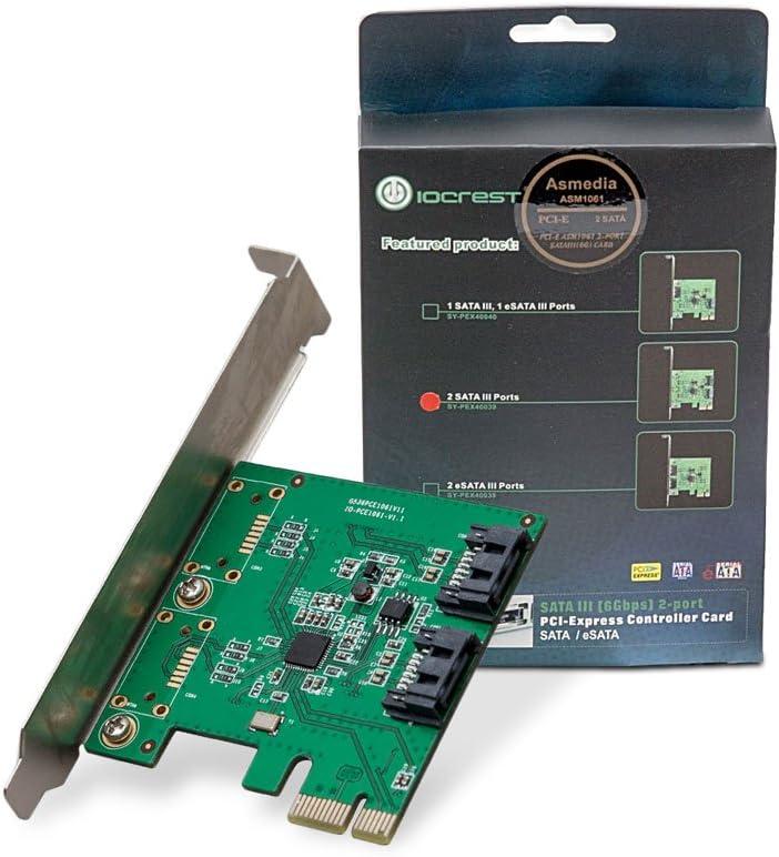 I/O CREST 2 Port SATA III PCI-e 2.0 x1 Controller Card Asmedia ASM1061 Non-Raid with Low Profile Bracket SY-PEX40039