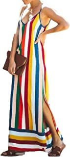 Toocool - Vestito Donna Abito Lungo Righe Multicolor Estivo Spacco Sexy JL-3309 [Taglia Unica,Multicolor]