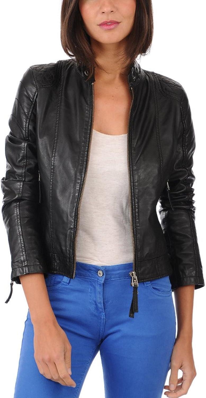 Captain Cory Womens Black Fringed Lining Lambskin Genuine Leather Jacket, Biker Jacket