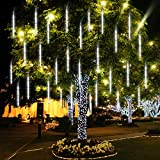 Fristmas Meteor Shower Rain Lights 8 Tube 288 LED 11.8 Inch Outdoor Waterproof Christmas Lights Falling Raindrop Fairy String Lights for Xmas Halloween Holiday Party Home Patio Tree Decoration