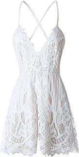 19af14eb42f ezShe Women s Sexy V Neck Backless White Lace Shorts Jumpsuit Romper