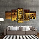 wmyzfs HD Print Home Decor Canvas 5 Piezas Lion Tiger Painting Wall Artwork Modern Animal Poster for Living Room Imagen Modular