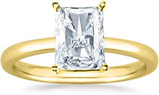 1 Ct Radiant Cut Solitaire Diamond Engagement Ring 14K White Gold (J Color SI1 Clarity)