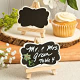 FASHIONCRAFT Fashion Craft 8376 Natural Wood Easel and Blackboard Placecard Holder, Black
