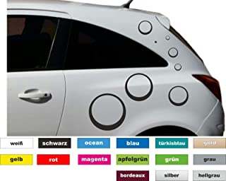 16 TLG. Set Ringe Kreise Auto Aufkleber Sticker Styling Fahrzeug