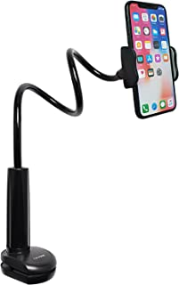 Tryone Gooseneck Phone Holder, Flexible Long Arm Mount Stand Compatible with Smartphones, Max Width 3in, Overall Length 27.5in(Black)