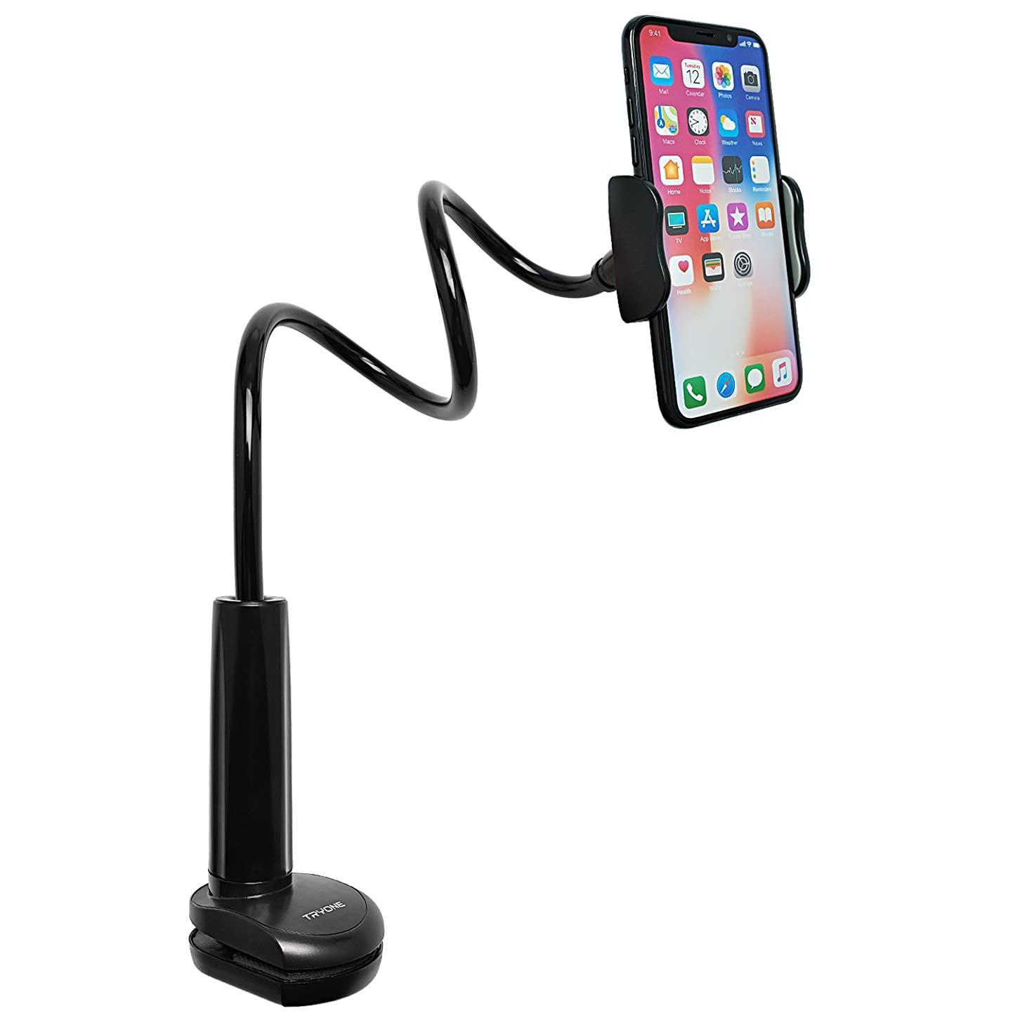 Tryone Gooseneck Phone Holder, Flexible Long Arm Mount Stand Compatible with Smartphones, Max Width 3in, Overall Length 27.5in(Black) huctgoyixyc2