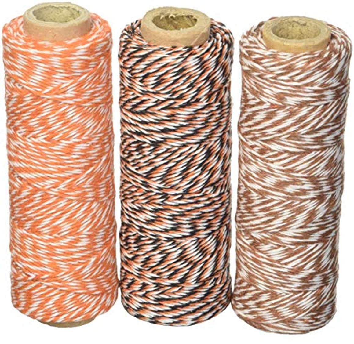 Wrapables 4-Ply Cotton Baker's Twine for Gift Wrapping and Arts and Crafts, 110-Yard Spool, Black and Orange/Brown/Orange, Set of 3
