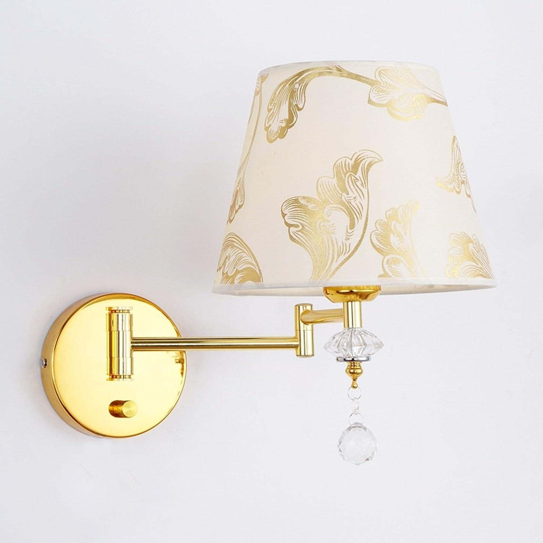 HDOH Wandlampe Knob Switch Swing Arm Golden Base Wandleuchte zur Beleuchtung Crystal Wandleuchte