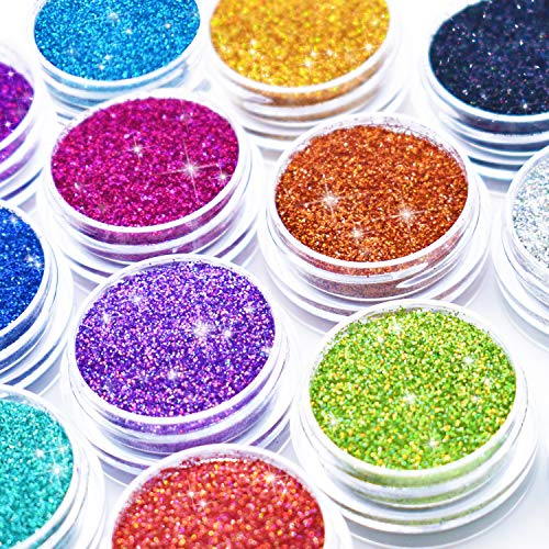 Glitter Wenida 12 Colors Holographic Cosmetic Laser Festival Powder Sequins Craft Glitter for Arts Face Hair Body Nail