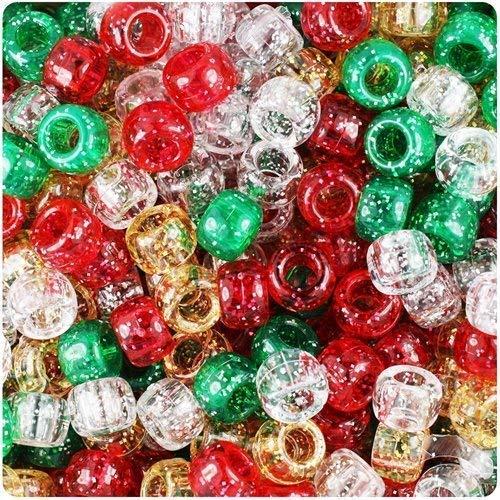Noël Scintillement Pony Mélange de perles 9 mm x 6 mm