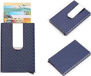Decoration Antimagnetic Carbon Fiber Solid Color Credit Card Holder Money Clip Wallet, Size: 10 * 6.6cm Gift (Color : Blue)