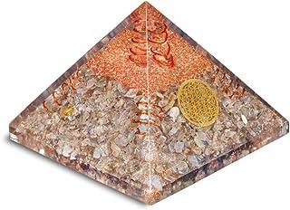 PREK Exclusive Labradorite Pyramid Copper Spring Flower of Life Symbol for Home Office Decor Gift Items Showpiece Decorati...