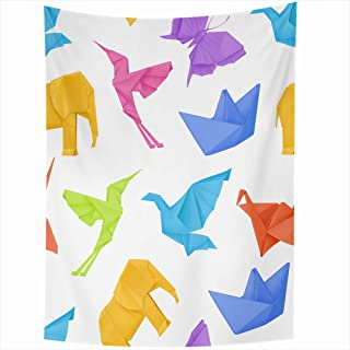 Ahawoso Tapestry 60x80 Inch Blue Elephant Toy Origami Traditional Multicolored Pattern Green Butterfly White Boat Animal Asia Bird Graphic Tapestries Wall Hanging Home Decor Living Room Bedroom Dorm