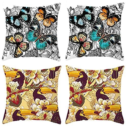 Agoble Cojines Sofa, Objetos Decoracion Vintage Poliéster 4 45X45cm Funda Cojin Amarillo Gris Flor De Pájaro Carpintero Mariposa