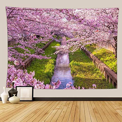 KHKJ Flores de Cerezo fantasía Tapiz Colgante de Pared Hippie Dormitorio decoración psicodélico Tapiz de Pared macramé Mandala Tapiz A17 130x150cm