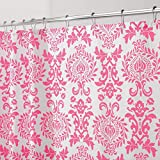 mDesign Decorative Damask Print Easy Care Fabric Shower Curtain with Reinforced Buttonholes, for Bathroom Showers, Stalls and Bathtubs, Machine Washable- 72' x 72' - Hot Pink/White