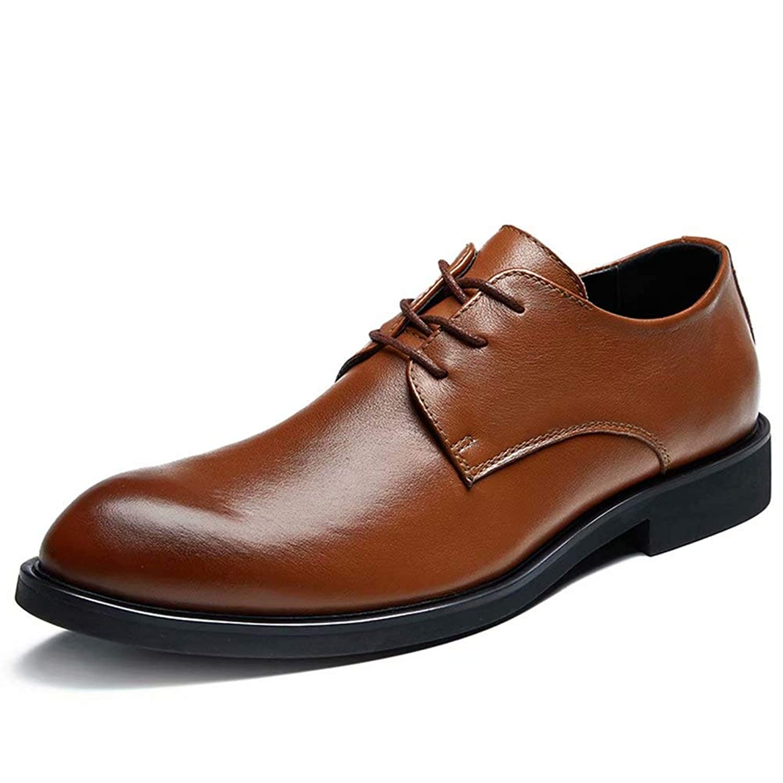 [HIMAWARI] ビジネスシューズ メンズ 外羽根 革靴 黒 プレーントゥ レースアップ 紳士靴 営業マン 通勤 防滑 軽量 ブラック ブラウン