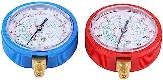 Cuque Refrigerant Gauge 1Pair of High & Low Pressure Heads Car Air Conditioner Refrigerant Pressure Gauge Kit Brass Plastic for R410A R134A R22 Refrigerant