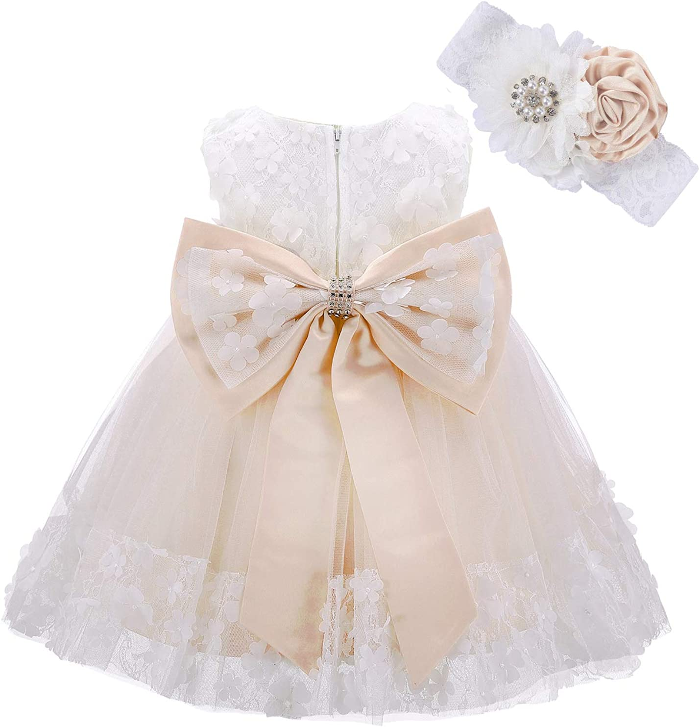 Limited time sale Bow Dream Baby Flower Girl Birthday Applique Dress Headband Purchase with