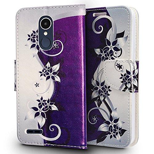 ZTE Blade X Max Case, ZTE ZMAX Pro Case, Luckiefind Premium PU Leather Flip Wallet Credit Card Cover Case, Stylus Pen, Screen Protector Accessories (Wallet Purple Vine)
