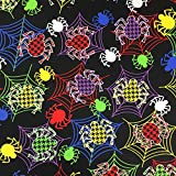 Schwarz Halloween Spider Web Design 100% Baumwolle gedruckt