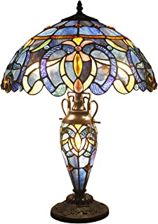 Tiffany Lamps Stained Glass Night Light Base 3 Light Blue Purple Clouldy Lampshade W16 H22 Inch Antique Style Bookcase Beside Desk Reading Lighting for Living Room Bedroom S558 WERFACTORY