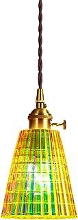 XODZASG Lámpara colgante de vidrio, Lámpara Colgante Vintage Iluminación colgante,Cocina comedor, E27 12W (Rayas de cuadrícula)