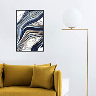 MOTINI Framed Abstract Wall Art Blue and Gold Print Artwork Pictures Mid-Century Contemporary Wall Decor for Living Room, Bathroom, Bed Room, Office 35
