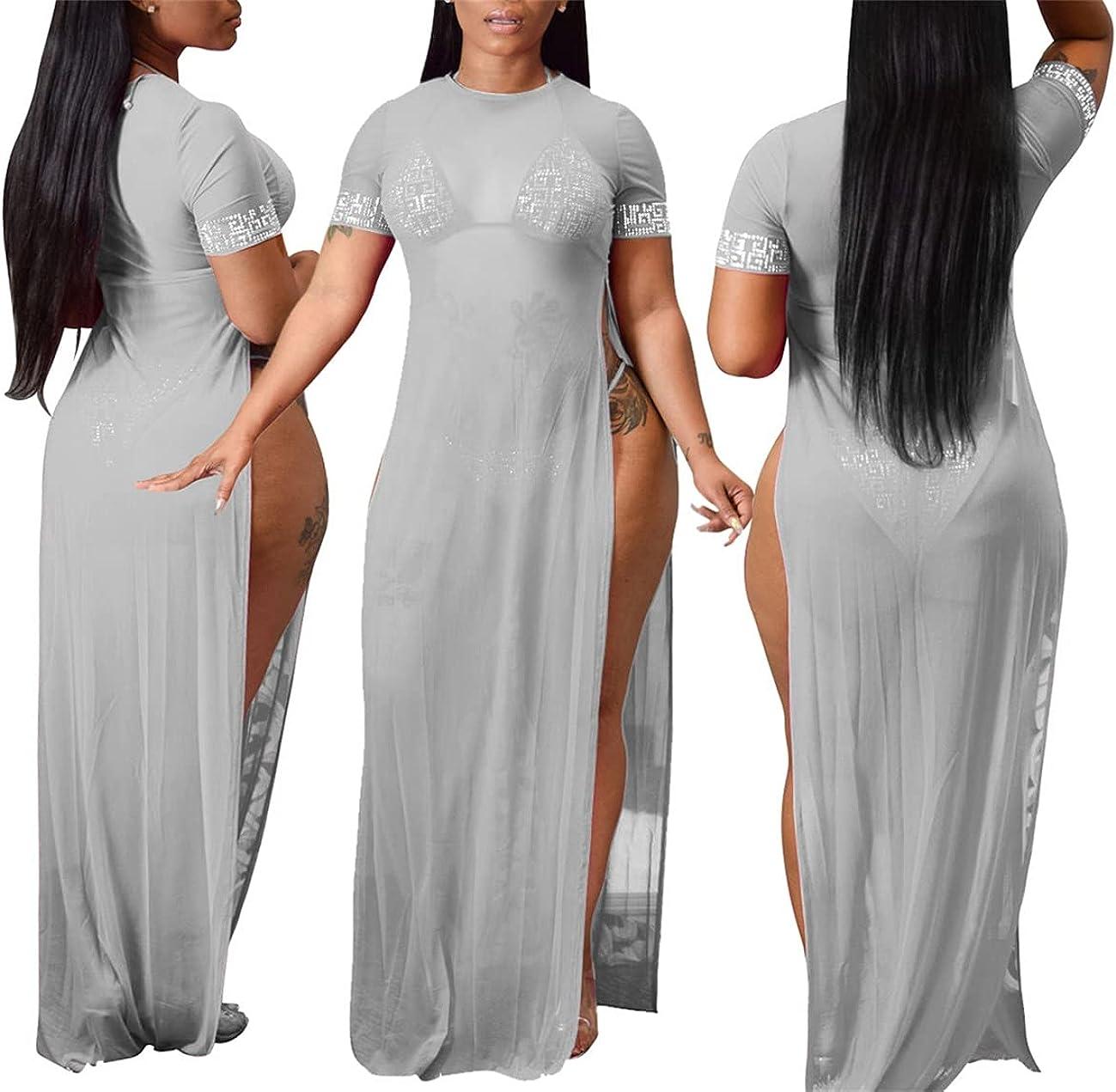 Mintsnow Women Sleeveless Sheer Mesh Bodycon Maxi Dress Bodysuit Party Clubwear